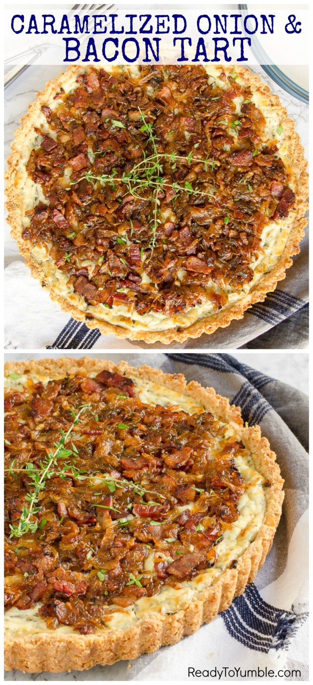 Caramelized Onion and Bacon Tart is a hearty, cold-weather appetizer, main dish, or even breakfast! Its savory flavors are balanced by a tangy goat cheese filling.