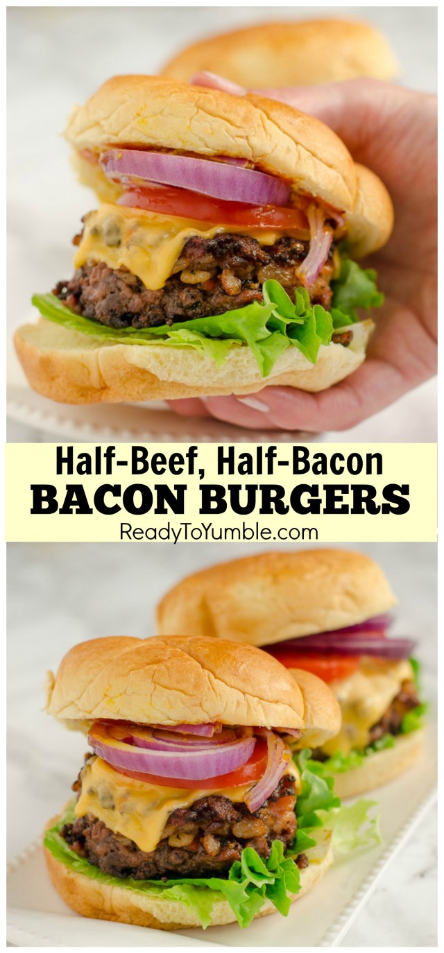 These insanely good bacon burgers pack a ton of chopped bacon right into the burger patty. Pair with your favorite toppings for unbeatable flavor!