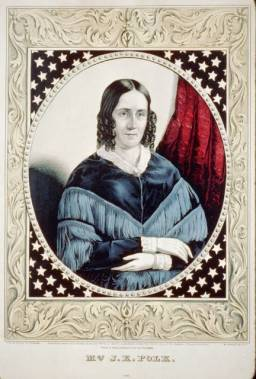 First Lady Sarah Childress Polk sits with her arms folded in this portrait.