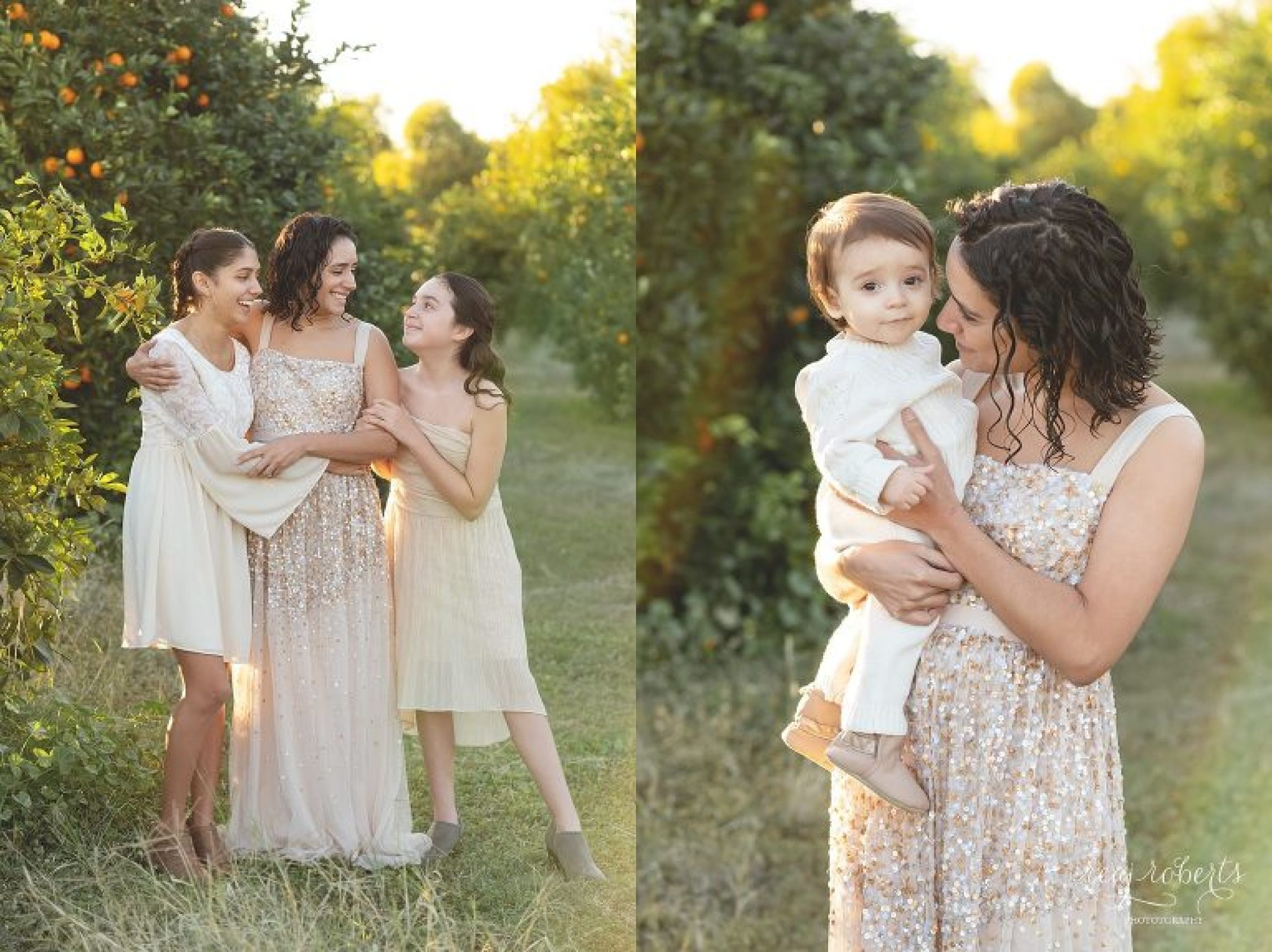 Mother with children in orange grove filed dressed in neutral clothing | Phoenix Family Photographer | Reaj Roberts Photography