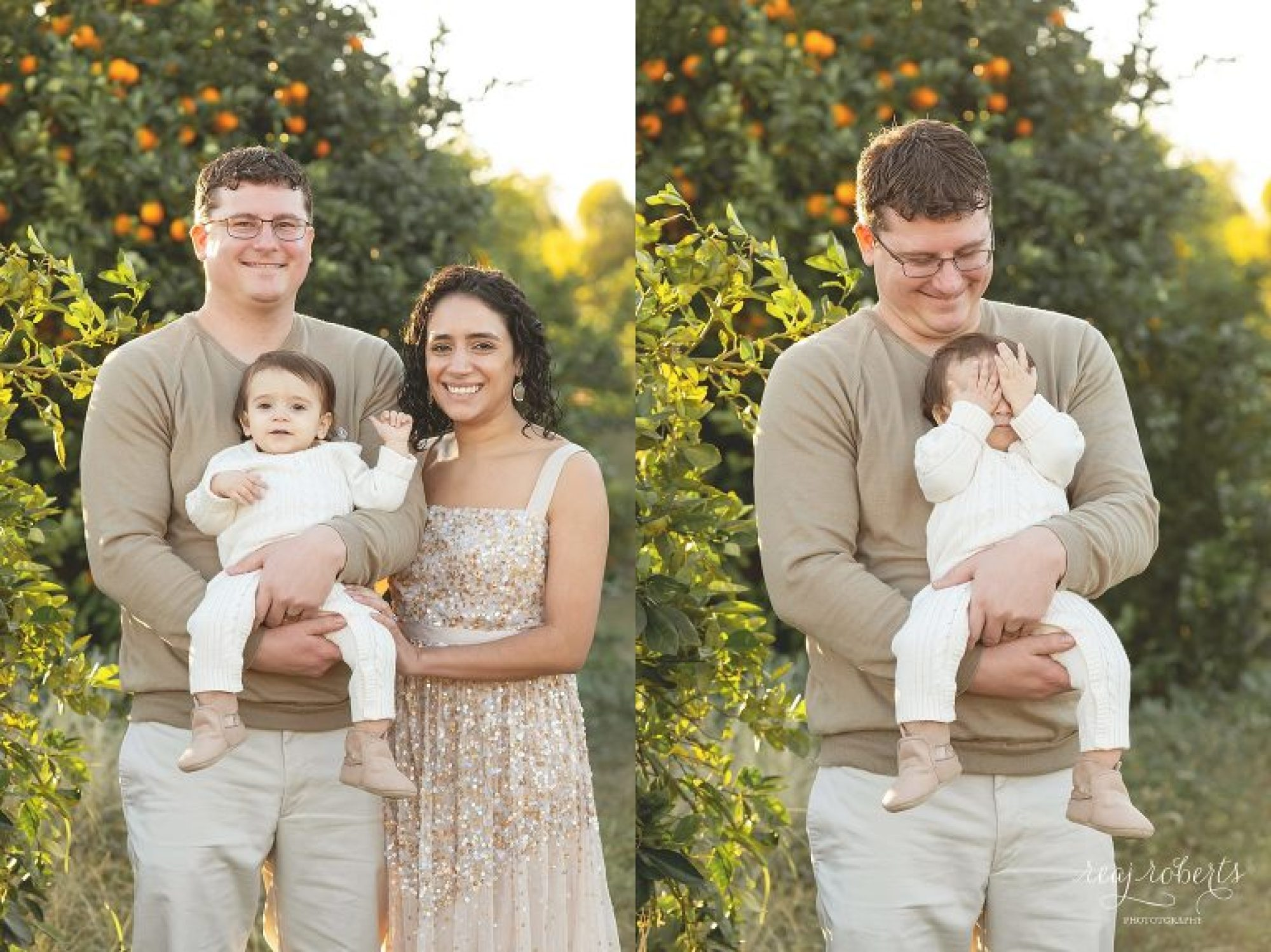 Family Poses in Citrus Grove during sunset | Phoenix Family Photographer | Reaj Roberts Photography
