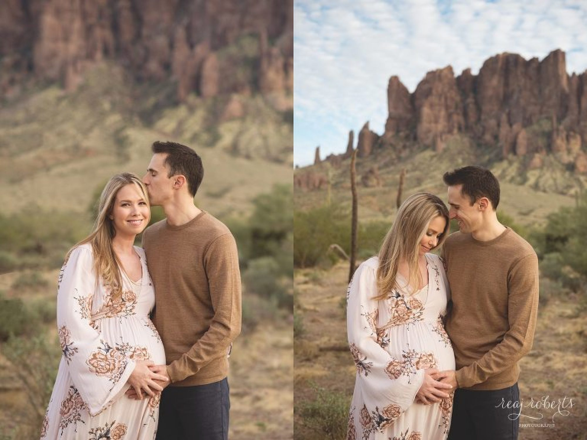 desert maternity photos in front of the Superstition Mountains