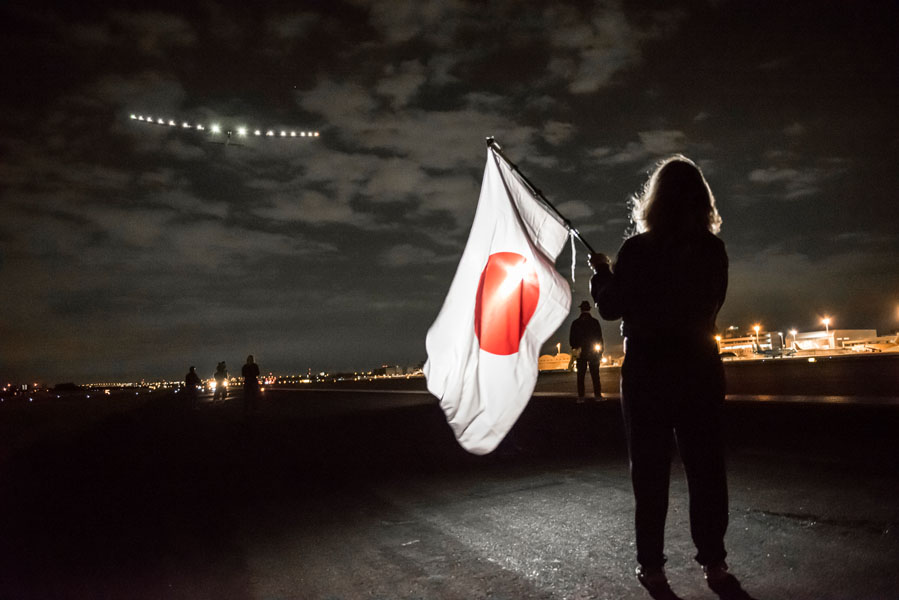 Nagoya, Japan, June 28, 2015: Solar Impusle 2 takes-off from Nagoya with AndrÈ Borschberg at the controls. The First Round-the-World Solar Flight will take 500 flight hours and cover 35í000 km, over five months. Swiss founders and pilots, Bertrand Piccard and AndrÈ Borschberg hope to demonstrate how pioneering spirit, innovation and clean technologies can change the world. The duo will take turns flying Solar Impulse 2, changing at each stop and will fly over the Arabian Sea, to India, to Myanmar, to China, across the Pacific Ocean, to the United States, over the Atlantic Ocean to Southern Europe or Northern Africa before finishing the journey by returning to the initial departure point. Landings will be made every few days to switch pilots and organize public events for governments, schools and universities.