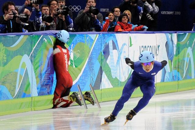 Canada's Francois Hamelin falls as South