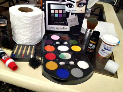Materials that you need for a Halloween DIY zombie makeup for kids.