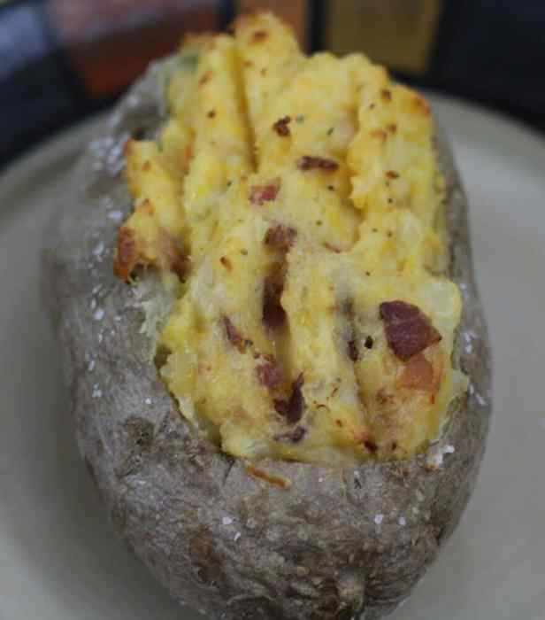 Twice Baked Loaded Potatoes bake again until the potato filling is brown and crispy on top