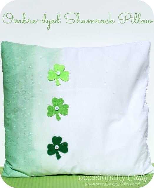 ombre shamrock pillow