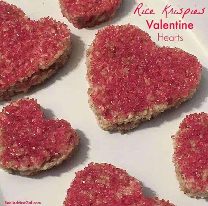 Heart Shaped Rice Krispies Valentine Treats