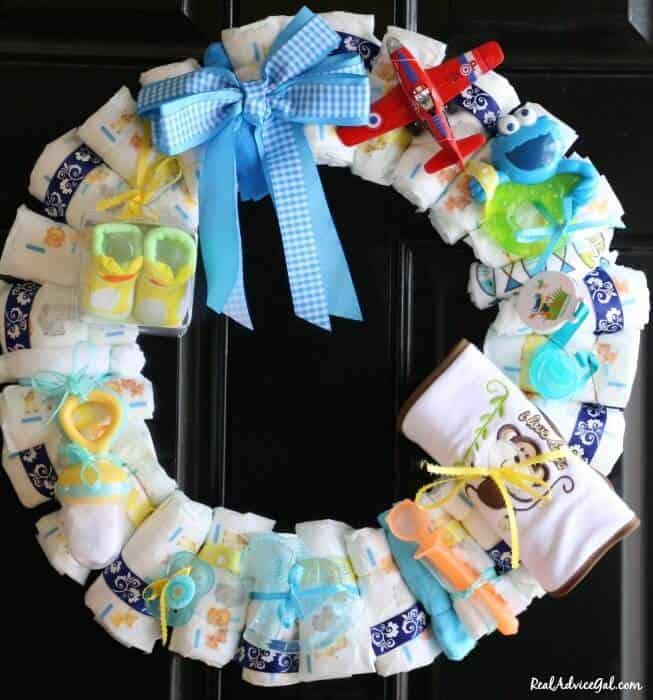 Diaper wreath for boys