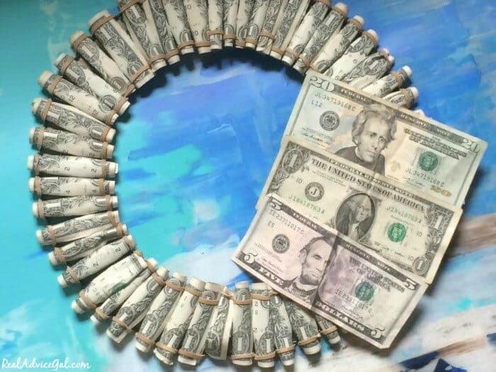 Graduation money wreath 2015