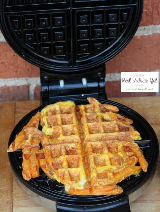 How to make waffles with sweet potato fries cook for 5-6 minutes until waffles are crispy