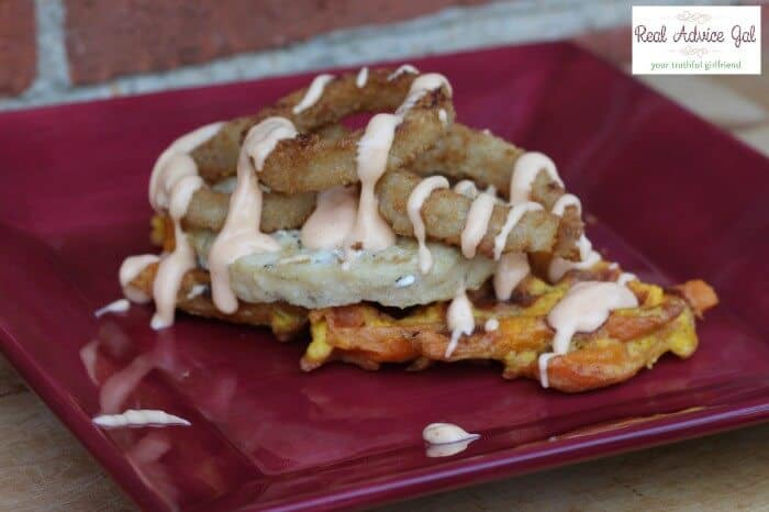 how to make sweet potato waffle fries finished waffle with mahi mahi and onion rings drizzled with yum yum sauce