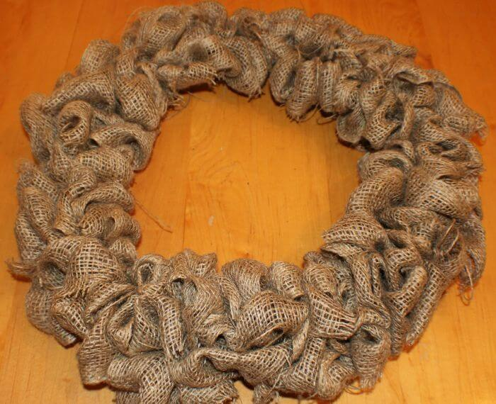 burlap wreath without any decorations