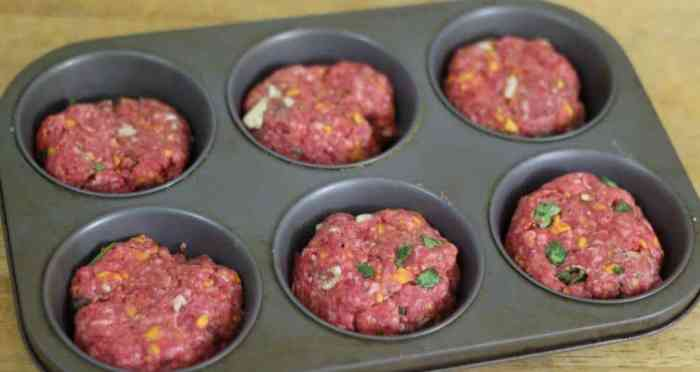 Put the meatloaf into muffin tins