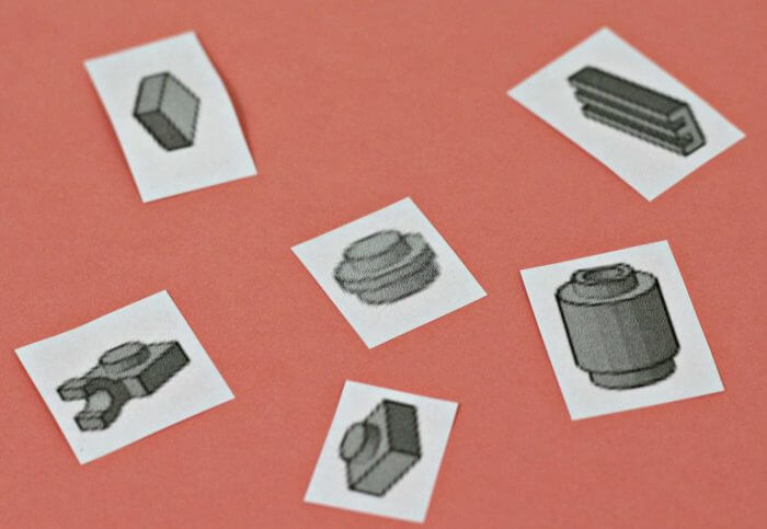 Cut out individual Lego shapes from the printable sheet