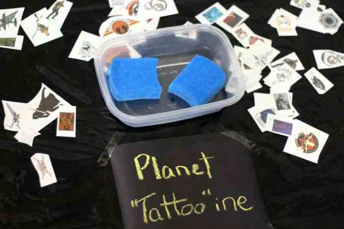 Planet Tattoine is a tatto station for a Star Wras themed birthday party activity