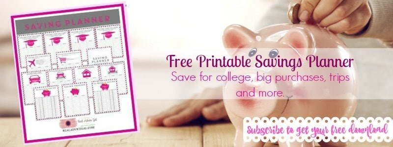 Free printable savings planner
