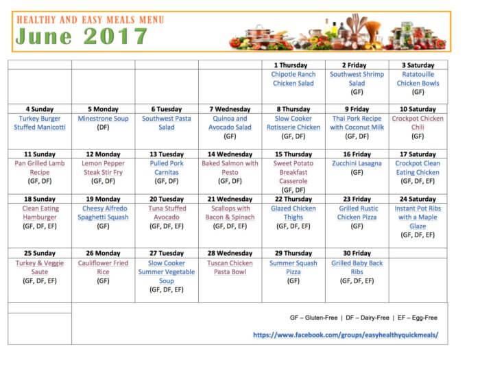 Easy Healthy Quick Meals Free Printable Calendar Menu