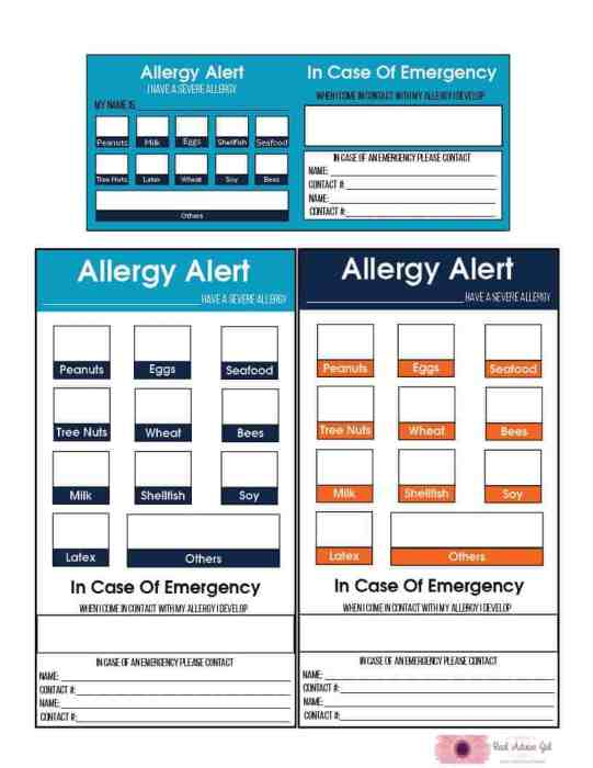 Free Printable Allergy Alert Cards