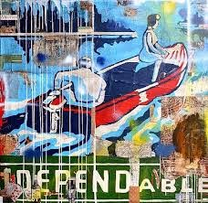 "Greg Miller's paint and collage on canvass, ""Dependable"""