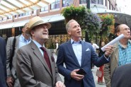 (left to right) Richard Warshauer of Colliers International enjoys a tour of the South Street Seaport, just steps from 199 Water Street, with Brett Greenberg, Executive Managing Director at Jack Resnick & Sons.
