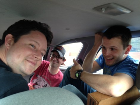 three guys in the back seat for a tour of Harrisonburg. They got to stop by Three Brothers, Jack Brown's and Capital Ale House