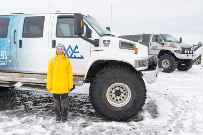 Super Jeep at Jokulsarlon Glacier Lagoon in Iceland