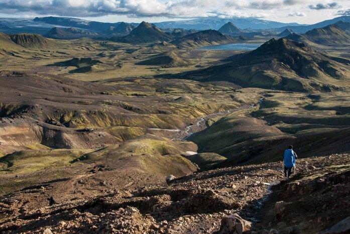 Laugavegur trek: Druhý den sestup k jezeru Álftavatn