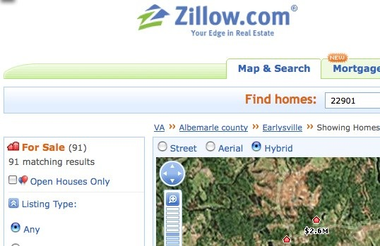 Trulia, Zillow, Cyberhomes or the Charlottesville MLS ... on zestimate zillow home search, zillow satellite maps search, zillow new home search, zillow rental search, zillow property search,