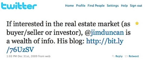Unsolicited praise for Jim Duncan's Charlottesville real estate blog