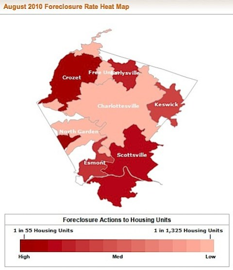 Heat Map of Albemarle County foreclosures