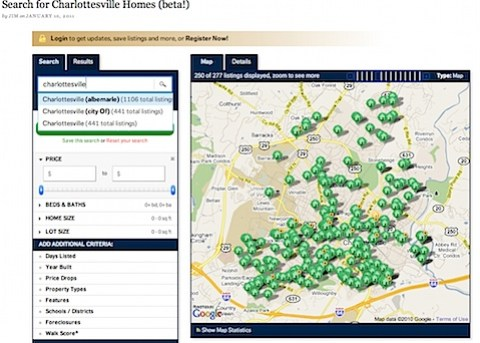 Search for homes in Charlottesville using this beta tool