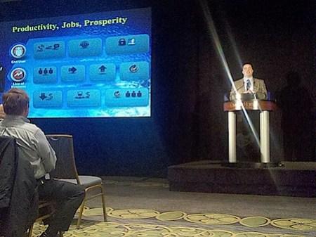 Fiberlight EVP Ben Edmond talking today at the Omni in Charlottesville