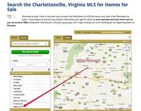 Search Charlottesville homes by Walkscore