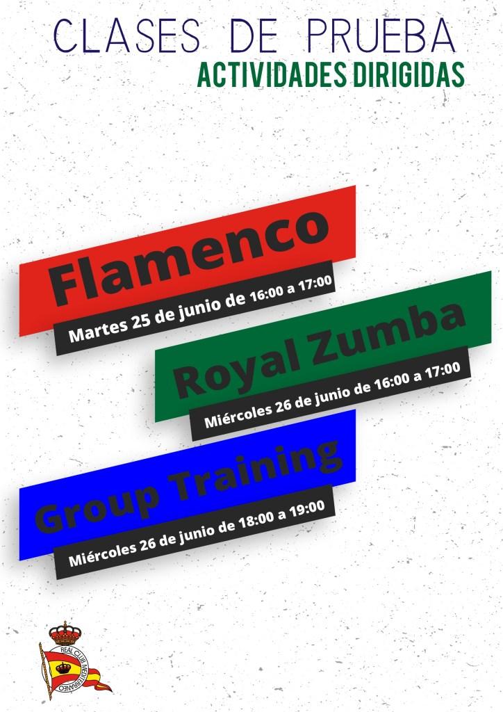 Nuevas clases de prueba: Flamenco, Royal Zumba y Group Training