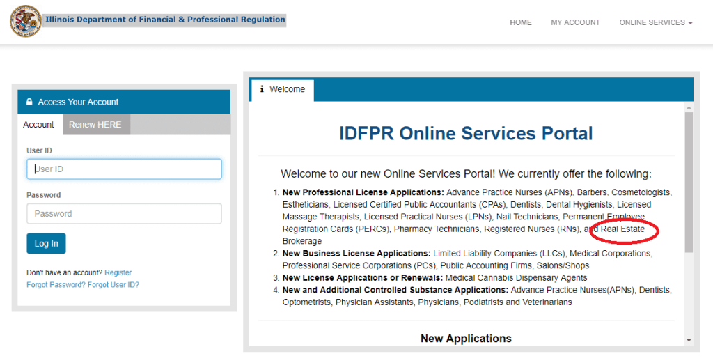 Screen shot of the IDFPR website. This is to apply for the real estate license in Illinois