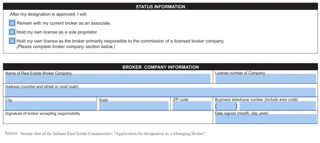 IN Real Estate Managing Broker Application