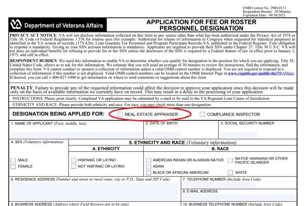 VA appraiser application