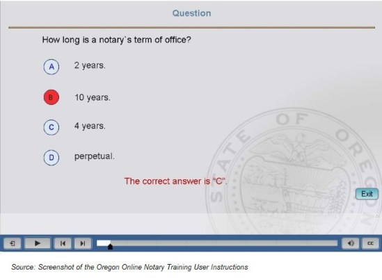 Oregon online notary training user instructions