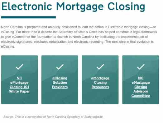 Electronic mortgage closing - North Carolina Secretary of State