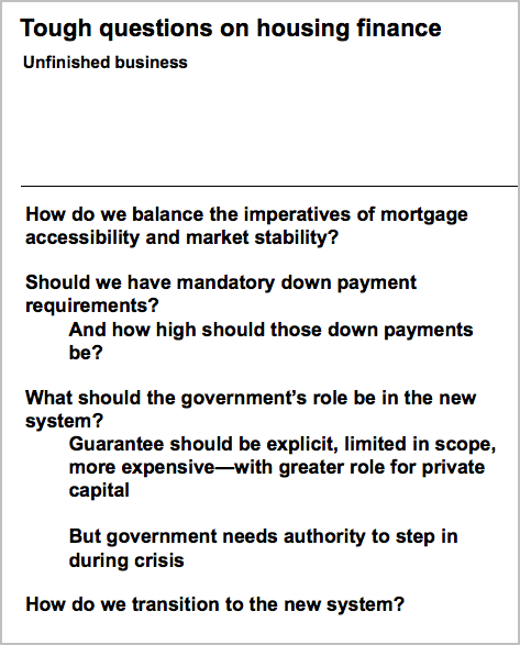 Geithner Course - Tough questions on housing finance