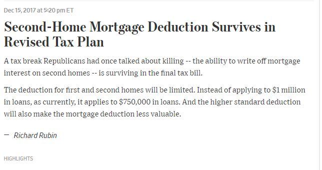 WSJ Article on 2nd Homes Mortage Deductions