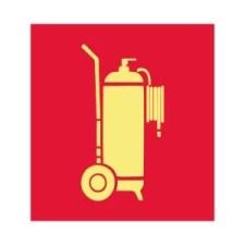 Placa Fotoluminescente Extintor de Incêndio sobre rodas E11