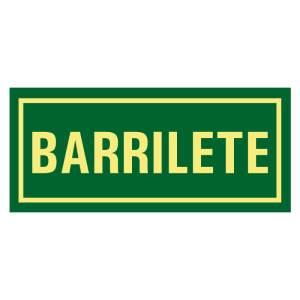 Placa sinalização fotoluminescente indicando local Barrilete