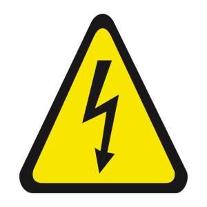 Placa sinalização fotoluminescente cuidado risco de choque elétrico A5