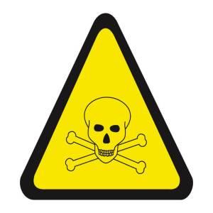Placa sinalização fotoluminescente cuidado, risco de exposição a produtos tóxicos A7