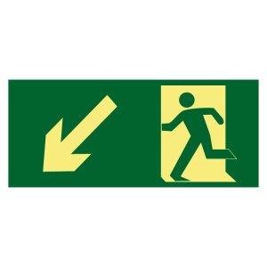 Placa sinalização fotoluminescente rota de fuga saída rampa desce seta esquerda PL156 S7