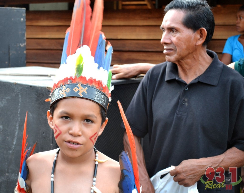 Father and Son. This lad hails from the Region Nine community of Masekenari , a remote village in the South Rupununi. His father was by his side as he prepared to perform at the launching of the celebrations.