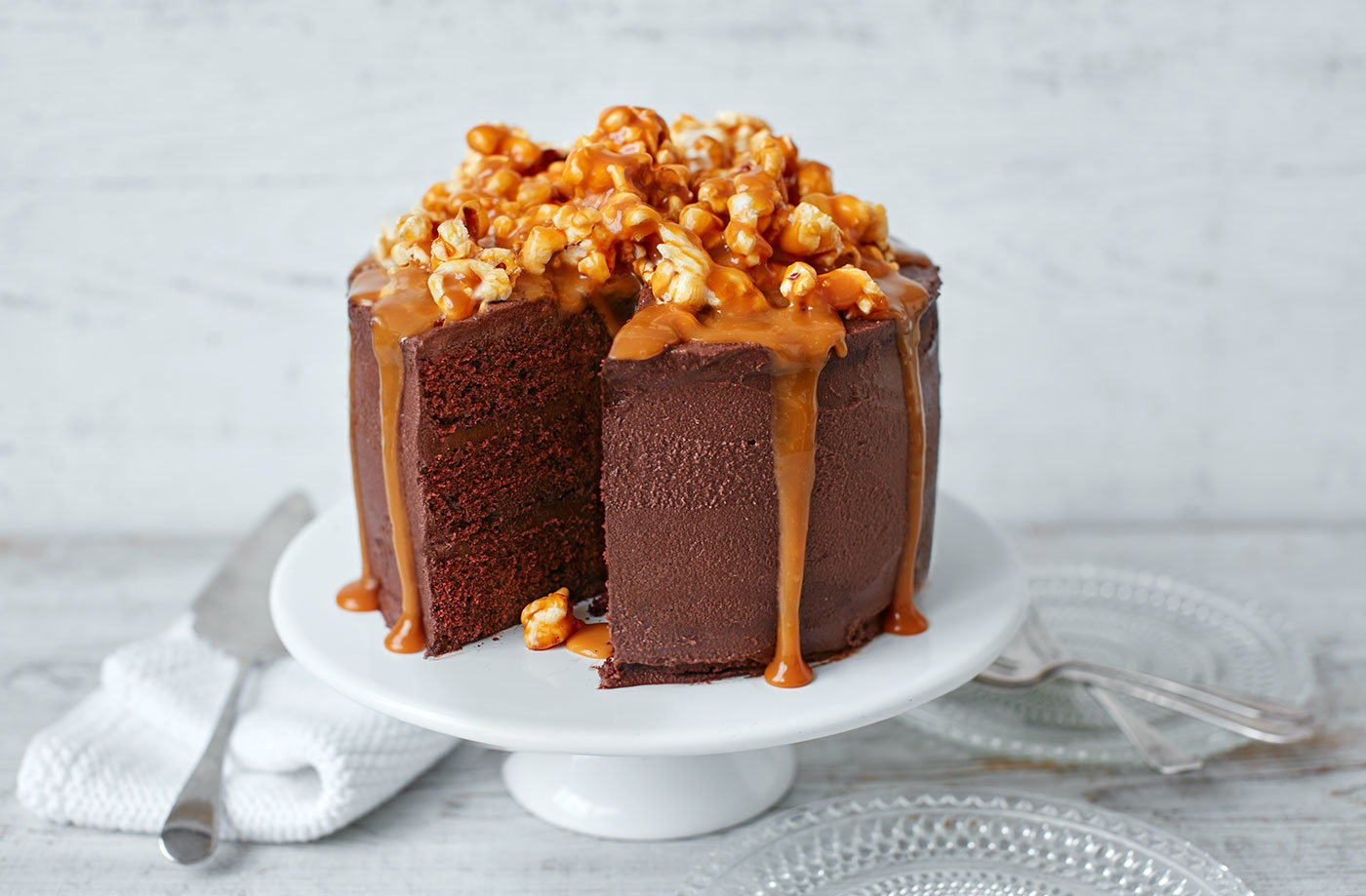 Chocolate Popcorn And Salted Caramel Cake