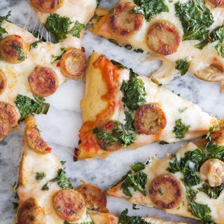 Balsamic Kale Chicken Sausage Pizza via Real Food by Dad